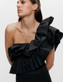 Fashion Black Laminated Irregular One-shoulder Top