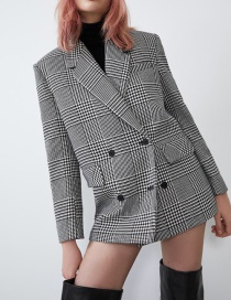 Fashion Lattice Houndstooth Blazer