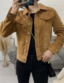 Fashion Ginger Yellow Corduroy Short Coat