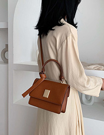 Brown Locked Crossbody Shoulder Bag