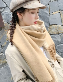 Fashion Solid Color Strip Double Sided Camel Striped Double-faced Cashmere Scarf Shawl