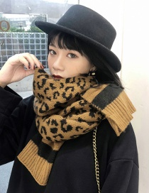 Fashion Leopard Dark Coffee Wool Knit Scarf Shawl Dual Purpose