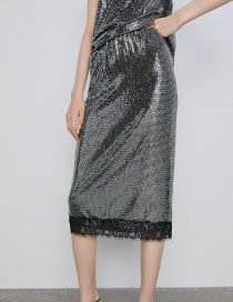 Fashion Silver Lace Sequin Skirt