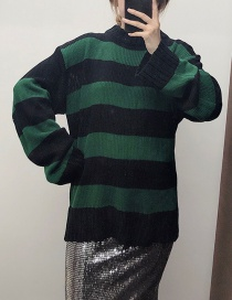 Fashion Green Green Striped Colorblock Sweater