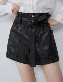 Fashion Black Faux Leather Shorts