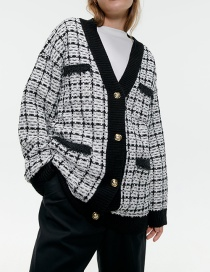 Fashion Lattice Tweed Cardigan