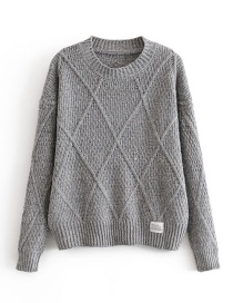 Fashion Gray Diamond Labeling Pullover Sweater