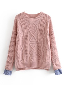 Fashion Pink Fake Two-piece Twist Pullover Sweater