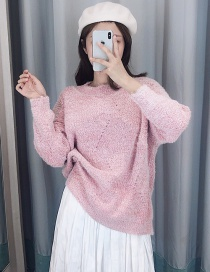 Fashion Pink Mohair Knit Pullover