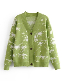 Fashion Green Jacquard V-neck Button-up Cardigan