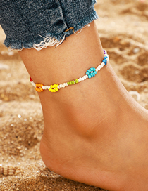 Fashion Color Rice Beads Flower Anklet