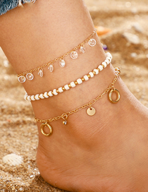 Fashion Gold Rice Beads Round Tassel Multi-layered Anklet 3 Piece Set