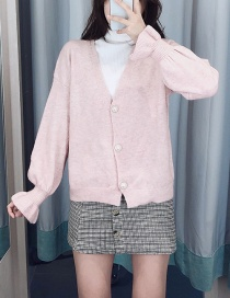 Fashion Pink Mohair Button Sweater