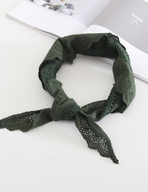 Dark Green Full Cotton Triangle Small Scarf