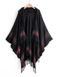Black Colorful Striped Imitation Cashmere Tassel Hooded Cape
