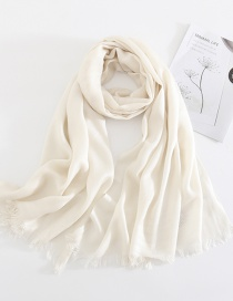 White Solid Color Cashmere Scarf Shawl