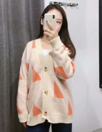 Beige Printed Sweater Cardigan