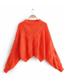 Orange Twisted Knit Mohair Sweater