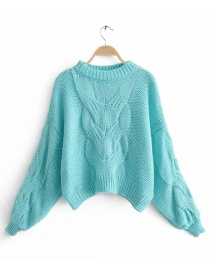 Lake Blue Twisted Knit Mohair Sweater