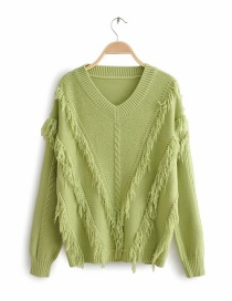 Green V-neck Fringed Fleece Pullover