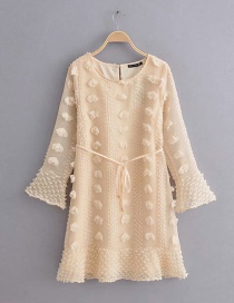 Beige Hair Ball With Flared Sleeve Dress