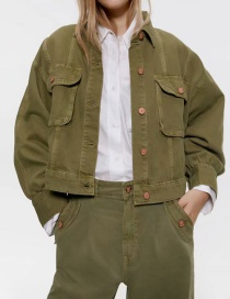 Army Green Pocket Short Lapels Jacket