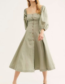 Army Green Vertical Buttoned Mid-length Dress