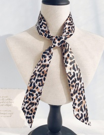 Fashion Hairy Leopard White Long Narrow Scarf