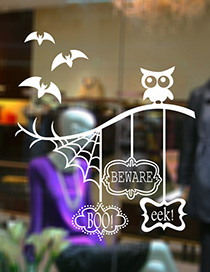 Fashion White Kst-20 Halloween Tree Branch Owl Wall Sticker