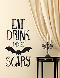 Fashion Multicolor Kst-11 Halloween Bat English Eat Drink Or Scary Wall Sticker