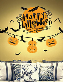 Fashion Multicolor Xl625 Halloween Pumpkin Light Wall Sticker