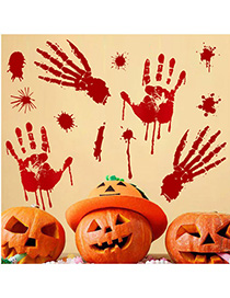 Fashion Multicolor Sk31007 Blood Handprint Pvc Wall Stickers