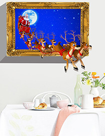Fashion Color Ks66263d Three-dimensional Christmas Deer Wall Sticker