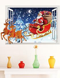 Paxmas80 Santa 3d Etiqueta De La Pared De La Ventana Falsa Extraíble