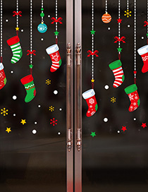 Fashion Color Xh6257 Cartoon Christmas Sock Wall Sticker