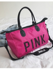 Rose Red Letter Pink Portable Bag