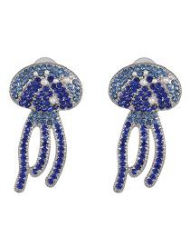 Fashion Blue Micro-drilled Eye Alloy Earrings