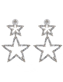 Fashion White Full Diamond Five-pointed Star Stud