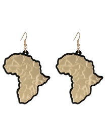 Fashion Gold Acrylic Plate  Map Earrings