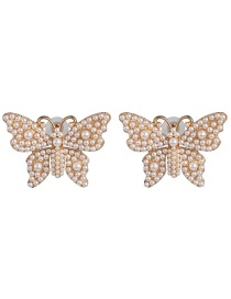 Fashion White Pearl-studded Butterfly Stud Earrings