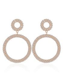 Fashion Gold Geometric Circle Alloy Diamond Earrings