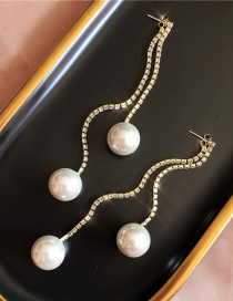 Fashion Gold (925 Silver Needle) Fringed Diamond Chain Stud Earrings