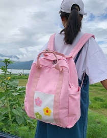 Fashion Pink Flower Canvas Portable Backpack