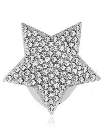 Fashion Silver Diamond Five-pointed Star Brooch