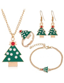 Fashion Golden Tree Santa Claus Elk Gift Christmas Necklace Earring Set