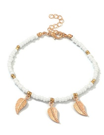 Fashion Golden Leaves Alloy Small Round Leaf Rice Beads Bracelet