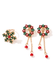 Fashion Color Snowflake Flower With Diamond Stud Earrings