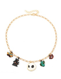 Fashion Gold Castle Ghost Head Alloy Drop Necklace