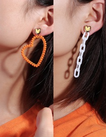 Fashion Orange Paint Chain Buckle Love Earrings