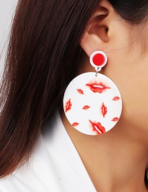 Fashion White Acrylic Lips Geometric Round Earrings